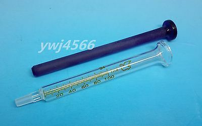 1Pcs  Mini 1ml Glass Syringe Lab Glassware Blue