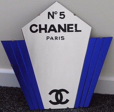 Stunning Art Deco Blue Chanel No5 Advertising Enamel Mirror Perfume Hairdressers