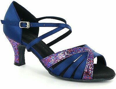 Size 11 Women Ballroom Tango Salsa Latin BLUE Dancing Shoes heeled felt sole WOW