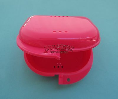 Orthodontic Appliance Retainer Case NEON PINK Box Breathing Holes Bleaching Tray