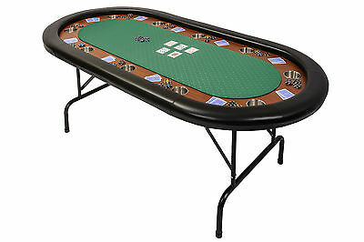 Tournament Poker Table Folding Metal Legs in Green Speed Cloth & Leather Armrest