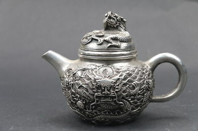 Collection Chinese Cupronickel Handwork Carved dragon teapot QIANLONG mark