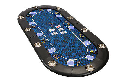 Riverboat Folding Poker Table Top in Blue Speed Cloth 200cm Seats 10 People