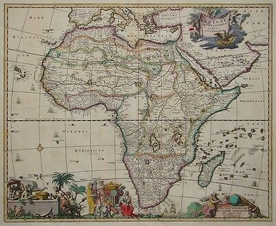 Map of Africa AFRICAE NOVISS CATERES Theodor Danckerts  Amsterdam 1680 Very rare