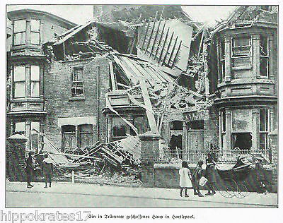 Hartlepool zerstörtes Haus 1914 WW1 rubble destroyed house  (23) antique print