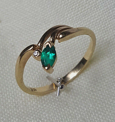 Yellow Gold Solid 9ct Created Emerald Ring with Diamond.