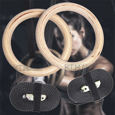 Wooden Gymnastic Olympic Rings Crossfit Gym Fitness Training Exercise