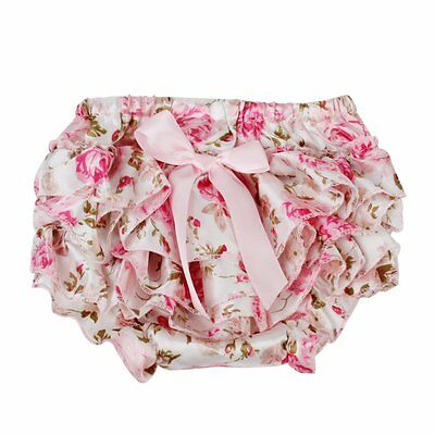 baby girl pink bowknot ruffles pants bloomers diaper cover - S E6Q3