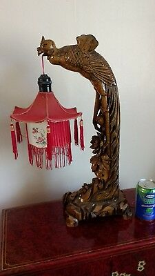 Antique wood carved dragon table lamp
