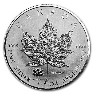CANADA 5 Dollars Argent 1 Once Maple Leaf 2017 Marque 150éme - 1 Oz silver coin