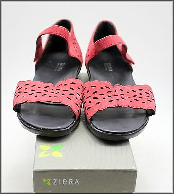 Ziera Women's Wedged Heel Red Open Toe Sandals Shoes Size 8