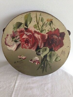 ANTIQUE MOSELEY WARE METAL HAND PAINTED TAMBOURINE-Birmingham England-1908