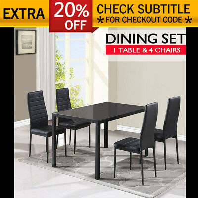 Modern Room Kitchen Glass Dining Table Set with 4 PU Leather Chairs Cafe