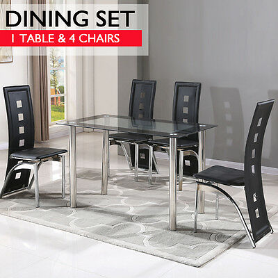 Contemporary Dining Set with Table and 4 Chairs Black Kitchen Room Furniture