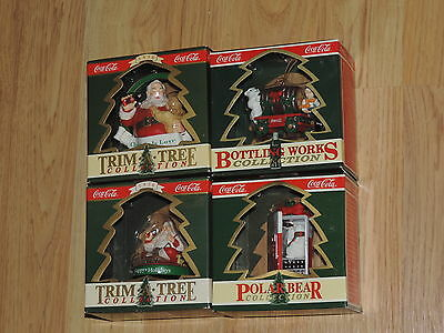 Coca Cola Christmas Ornament Lot of 4 Santa Claus Polar Bear NEW (c591)