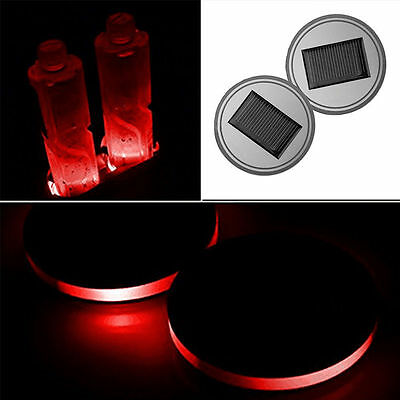 2X Solar Cup Holder Bottom Pad LED RED Atmosphere Lights Lamps 68mm US STOCK