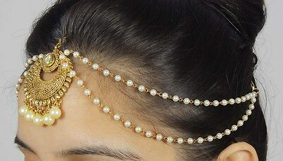 19 Latest Pakistani Matha Patti Pearl Stone Indian Maang Tikka Bridal Head Chain