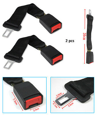 "2x Universal Car Safety Seat Belt Seatbelt Extension Extender 7/8"" Buckle Black"