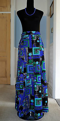Vintage and retro blue 70's maxi skirt