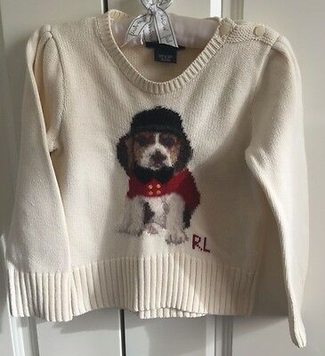Ralph Lauren Cream Girls Jumper with Dog in Size 3/3T