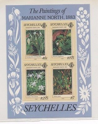 Seychelles minisheet, paintings of flowers by Marianne North