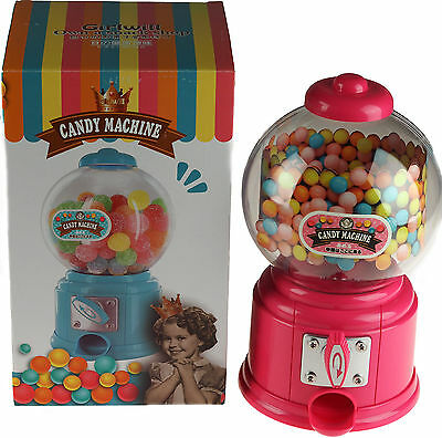 Pink 27cm Gumball Dispenser Retro Style Machine - Jelly Beans / Bubble Gum