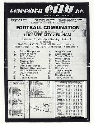 Leicester City Reserves v Fulham (Combination) 1980/1 Gary Lineker Terry Mancini