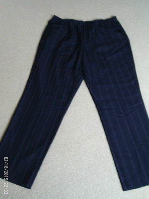 Ladies Polyester Elastic Waist Navy Blue Summer Trousers Size 20