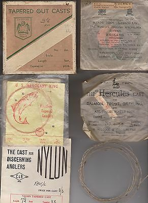 Vintage Old Casts, Leadlines In Box From J.m. Gillies, C&r, Uk, Usa, Hardys