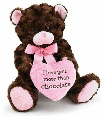 I Love You More Than Chocolate Valentines Day Heart Gift Teddy Bear Cute Pink