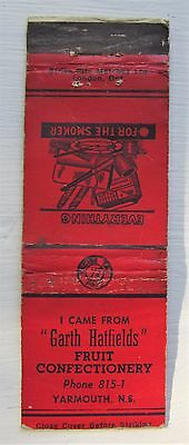 Antique Matchbook Cover Garth Hatfields Fruit Candy Yarmouth Nova Scotia