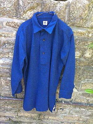 """Blue Vintage Shirt with Collar Real Welsh 70% Wool 17 1/2"""" Cambrian Shirt"""