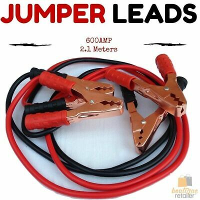 Heavy Duty JUMPER LEADS Booster Cables Jump Start 600AMP 2.1M Long Car Battery