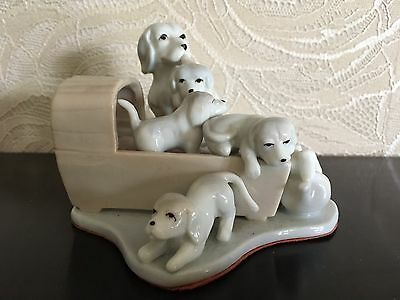 porcelain Ornament Dog With Puppies