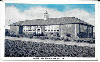 Pennsylvania Postcard: Junior High School Building In Red Hill, Pa