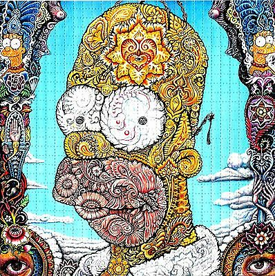 Psychedelic Homer Simpson Blotter Art Perforated Lsd Acid Free Paper 900 Square