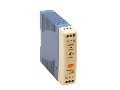Meanwell 20W Din Rail Mount Power Supply 24Vdc Mdr-20-24