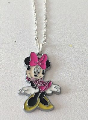 Full Body Minnie Mouse Child's Necklace Hot Pink