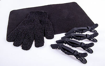 Heat Protection Hair Glove, Heat proof Mat  & 4 x Cloud 9 Clips For GHD & Others