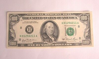 ^ 1981 $100 100 Dollar Bill, Federal Reserve Note, St. Louis Serial# H01256211A
