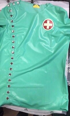 *MADE+DESIGNED IN UK* Latex MENS DOCTOR RUBBER TOP XL MINT