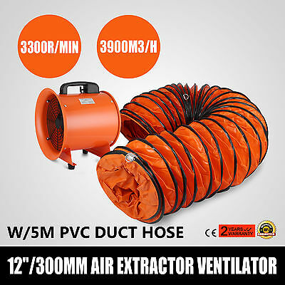 12 Dust Fume Extractor/Ventilation Fan+5m Ducting Telescopic Exhuast Chemical