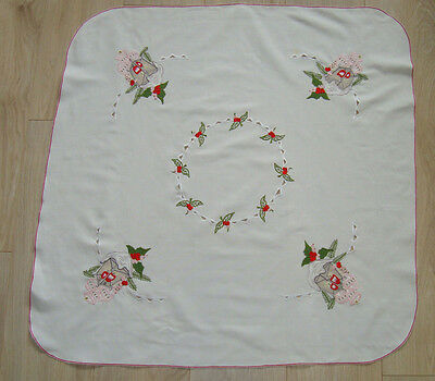 Vintage German Christmas Еmbroidered Tablecloth Мistletoe & Lantern by Winkler