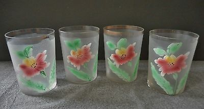 Victorian Dugan Glass Hand Enameled Floral Pattern Blown Tumbler Set Of 4