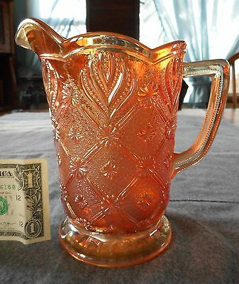 Antique Imperial Marigold Carnival Glass Beaded Acanthus Milk Pitcher