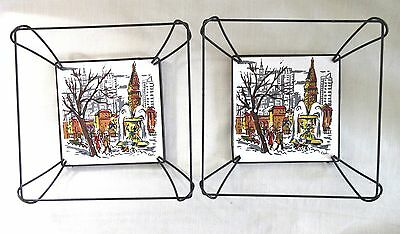 Pair of Vintage Wire Framed, Hand Painted Ceramic Tile Wall Plaques - Germany