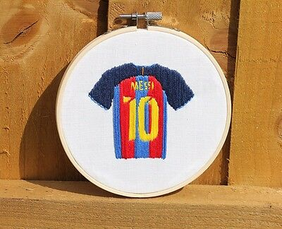 Hand Embroidered Messi Barcelona Football Shirt in Hoop