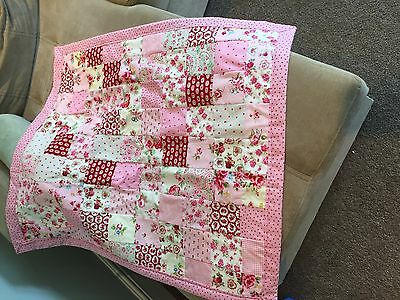 Pretty floral Cath Kidston pink pram or cot quilt