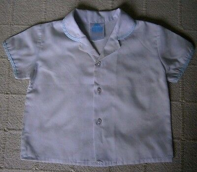 Vintage Baby Shirt - Age 12/18 months - White/ Blue Trim - Cotton/Poly - Used