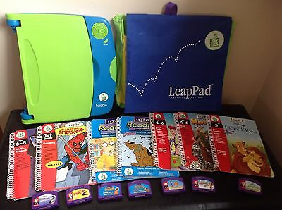 LeapPad Leap Frog Learning System Console 7 books Cartridges Carry Backpack Bag